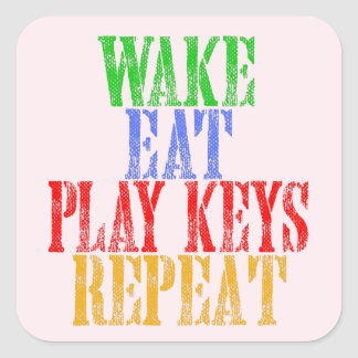 Wake Eat PLAY KEYS Repeat Square Sticker