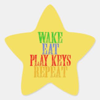 Wake Eat PLAY KEYS Repeat Star Sticker