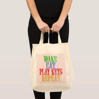 Wake Eat PLAY KEYS Repeat Tote Bag