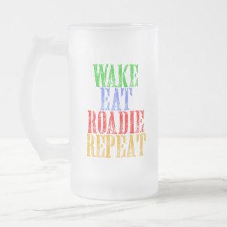 Wake Eat ROADIE Repeat Frosted Glass Beer Mug