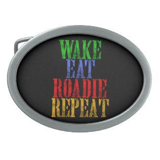 Wake Eat ROADIE Repeat Oval Belt Buckle