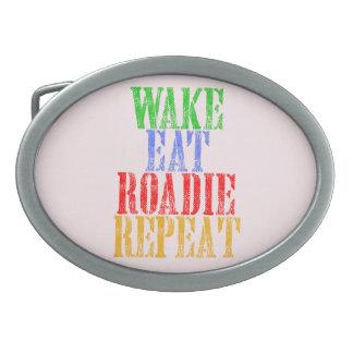 Wake Eat ROADIE Repeat Oval Belt Buckles