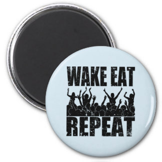 WAKE EAT ROCK REPEAT #2 (blk) 2 Inch Round Magnet