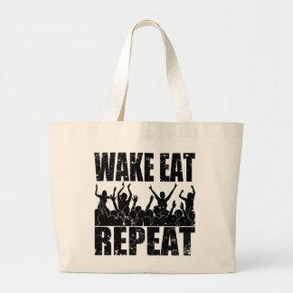 WAKE EAT ROCK REPEAT #2 (blk) Large Tote Bag
