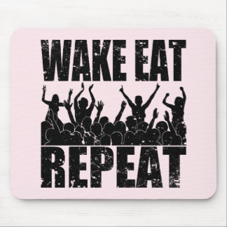 WAKE EAT ROCK REPEAT #2 (blk) Mouse Pad