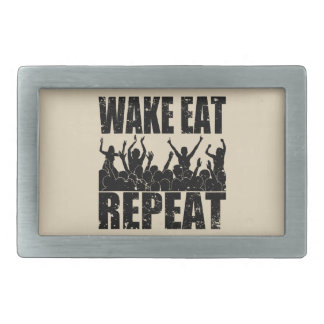 WAKE EAT ROCK REPEAT #2 (blk) Rectangular Belt Buckles
