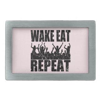 WAKE EAT ROCK REPEAT #2 (blk) Rectangular Belt Buckles