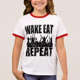 WAKE EAT ROCK REPEAT #2 (blk) Ringer T-Shirt