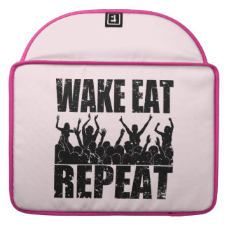 WAKE EAT ROCK REPEAT #2 (blk) Sleeve For MacBooks