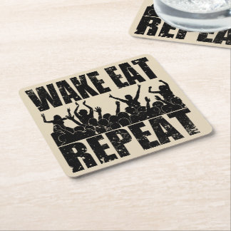 WAKE EAT ROCK REPEAT #2 (blk) Square Paper Coaster