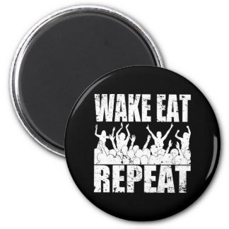 WAKE EAT ROCK REPEAT #2 (wht) 2 Inch Round Magnet