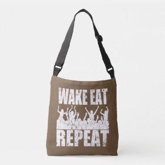 WAKE EAT ROCK REPEAT #2 (wht) Crossbody Bag