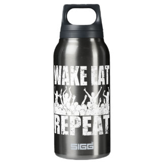 WAKE EAT ROCK REPEAT #2 (wht) Insulated Water Bottle