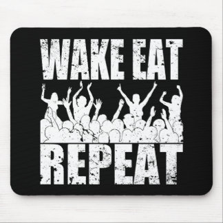 WAKE EAT ROCK REPEAT #2 (wht) Mouse Pad