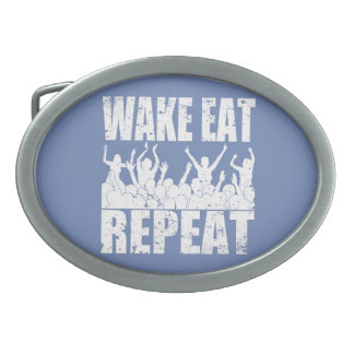 WAKE EAT ROCK REPEAT #2 (wht) Oval Belt Buckle