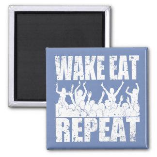 WAKE EAT ROCK REPEAT #2 (wht) Square Magnet