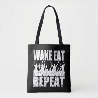 WAKE EAT ROCK REPEAT #2 (wht) Tote Bag