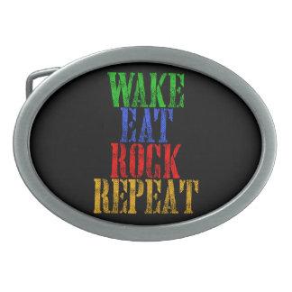 WAKE EAT ROCK REPEAT #3 OVAL BELT BUCKLES