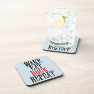 WAKE EAT ROCK REPEAT (blk) Beverage Coaster
