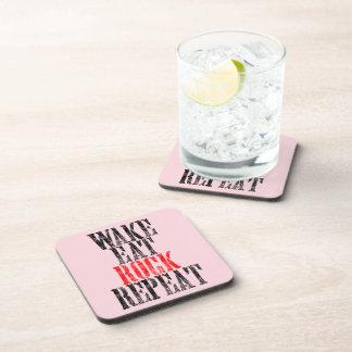 WAKE EAT ROCK REPEAT (blk) Coaster