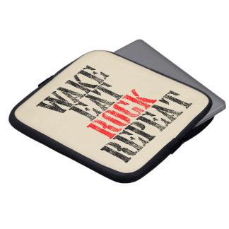 WAKE EAT ROCK REPEAT (blk) Laptop Sleeves