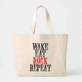 WAKE EAT ROCK REPEAT (blk) Large Tote Bag