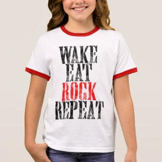 WAKE EAT ROCK REPEAT (blk) Ringer T-Shirt