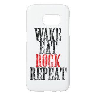 WAKE EAT ROCK REPEAT (blk) Samsung Galaxy S7 Case