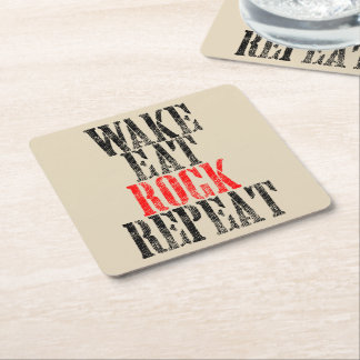 WAKE EAT ROCK REPEAT (blk) Square Paper Coaster