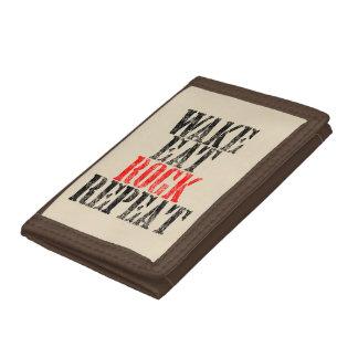 WAKE EAT ROCK REPEAT (blk) Tri-fold Wallet