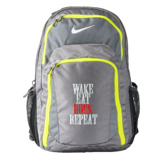 WAKE EAT ROCK REPEAT (wht) Backpack