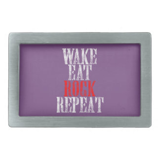 WAKE EAT ROCK REPEAT (wht) Belt Buckles