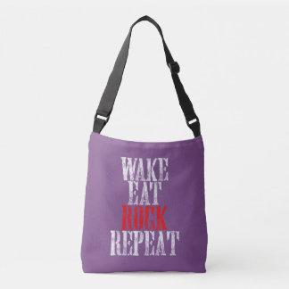 WAKE EAT ROCK REPEAT (wht) Crossbody Bag