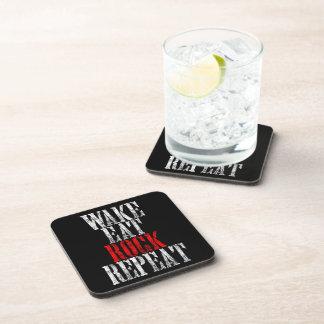 WAKE EAT ROCK REPEAT (wht) Drink Coaster