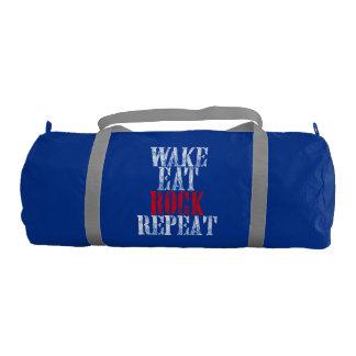 WAKE EAT ROCK REPEAT (wht) Gym Bag