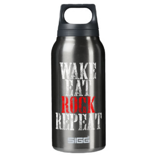 WAKE EAT ROCK REPEAT (wht) Insulated Water Bottle