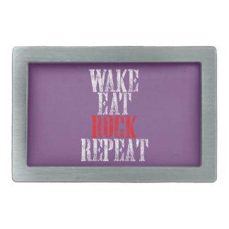 WAKE EAT ROCK REPEAT (wht) Rectangular Belt Buckle