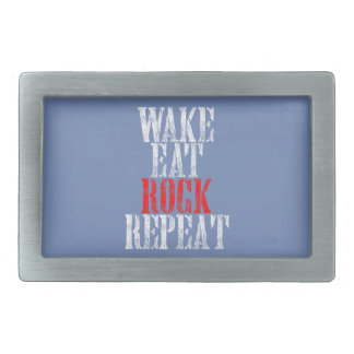 WAKE EAT ROCK REPEAT (wht) Rectangular Belt Buckles
