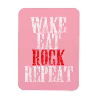 WAKE EAT ROCK REPEAT (wht) Rectangular Photo Magnet
