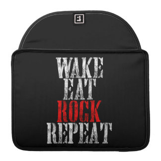 WAKE EAT ROCK REPEAT (wht) Sleeve For MacBook Pro