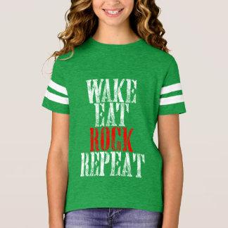 WAKE EAT ROCK REPEAT (wht) T-Shirt