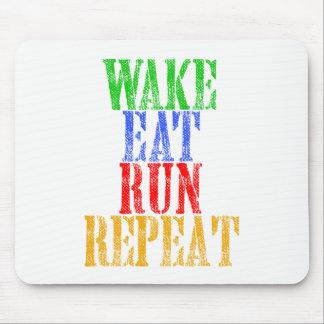 WAKE EAT RUN REPEAT MOUSE PAD
