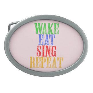 Wake Eat Sing Repeat Belt Buckle
