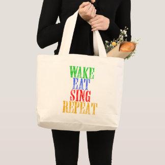 Wake Eat Sing Repeat Large Tote Bag