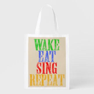 Wake Eat Sing Repeat Reusable Grocery Bag