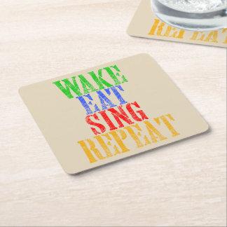 Wake Eat Sing Repeat Square Paper Coaster