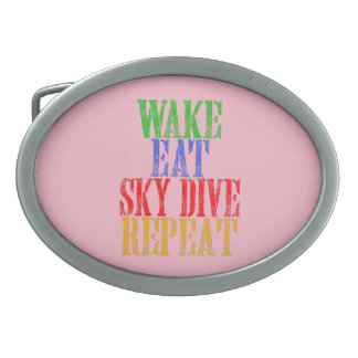 WAKE EAT SKYDIVE REPEAT OVAL BELT BUCKLE