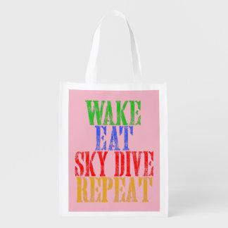 WAKE EAT SKYDIVE REPEAT REUSABLE GROCERY BAG