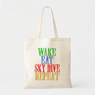 WAKE EAT SKYDIVE REPEAT TOTE BAG