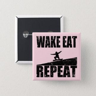Wake Eat Snowboard Repeat #2 (blk) 2 Inch Square Button